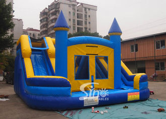 Commercial kids double lane inflatable water combo castle with removable custom banner